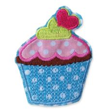 BLUE CUPCAKE MOTIF IRON ON EMBROIDERED PATCH APPLIQUE